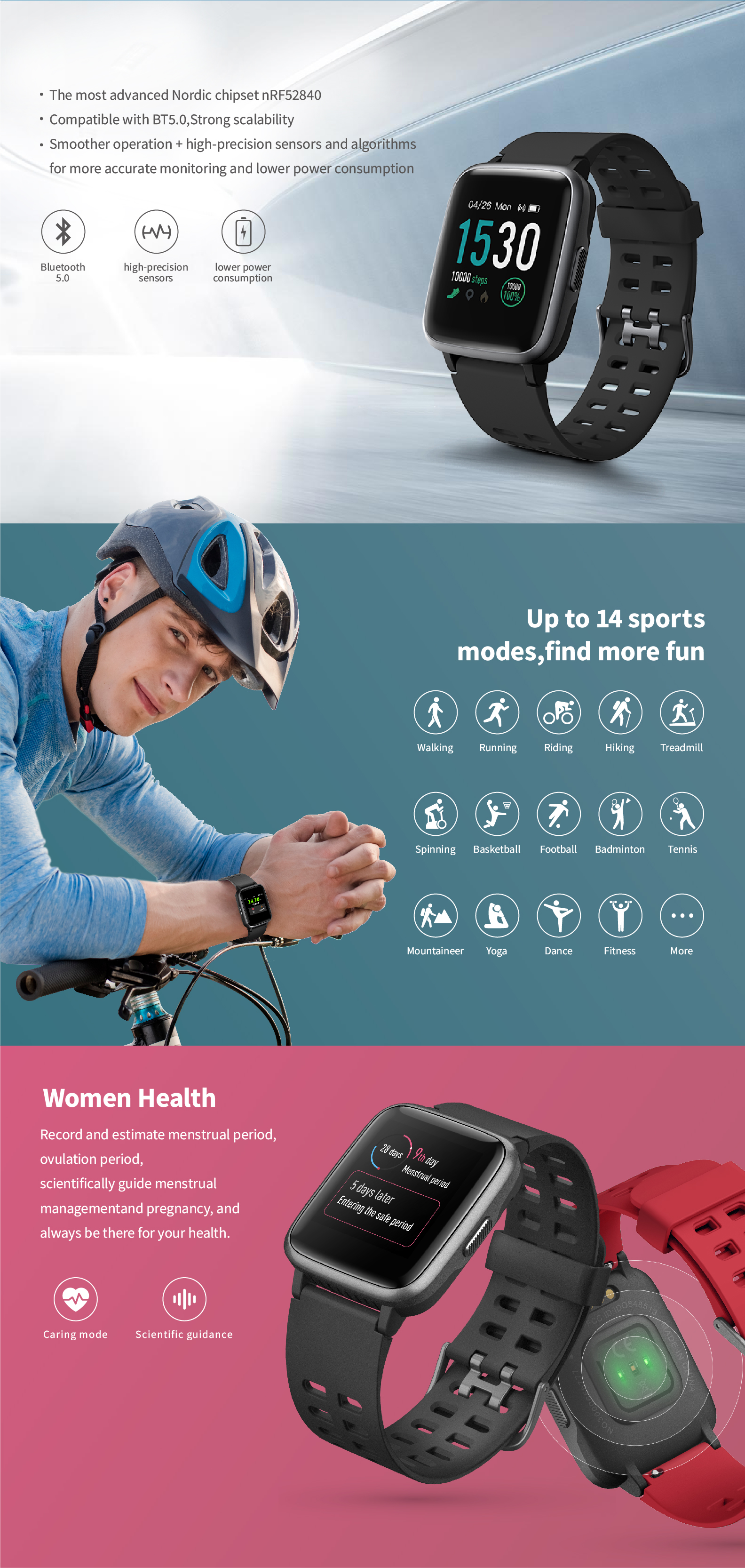 2019 Hot sale fitness tracker heart rate monitor sports waterproof touch screen smart watch