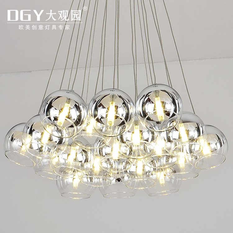 european style Glass beads bubble stair chandelier used for restaurant lighting