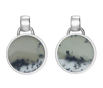 Silver Earrings With Dendrite Opal