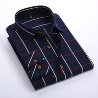Formal button down collar plaid long sleeve men's dress shirt
