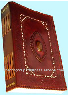 Genuine Fine Cut Work Embossed with Stone Leather Bound Notebook
