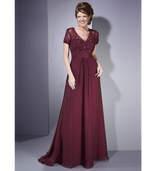 Lace Chiffon A-line V-neck Empire Waist Short Sleeve Full Length Mother of the Bride Dress Mother Evening Party Dresses