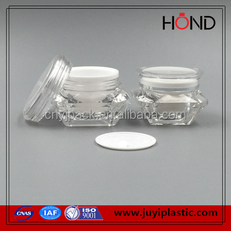 shiny luxury Diamond Shape 30g acrylic plastic jar wholesale for skin cream,plastic cosmetics container,jar cosmetic