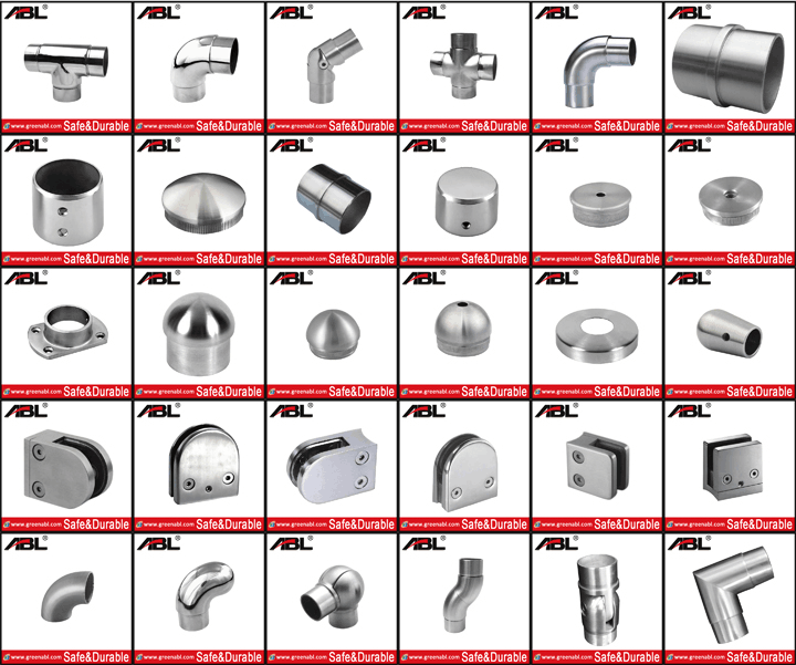 ABLinox stainless steel stair balustrade handrail fittings for outdoor step