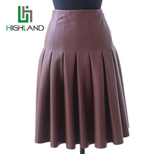 2016 PU Leather Skirts For Ladies Short High Waist Pleated Skirt