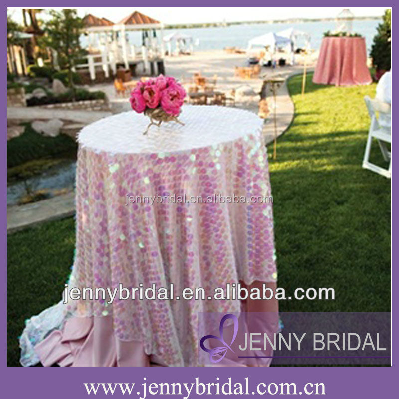TL026B Rainbow Large Round Sequin High Bar Cocktail Table Cloth For Wedding