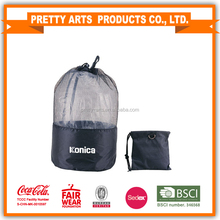 Nylon Mesh drawstring foldable bag for laundry , gym,swim,travel