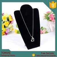Black Composition Board MDF L Shaped Necklace Pendant Chain Display Stand