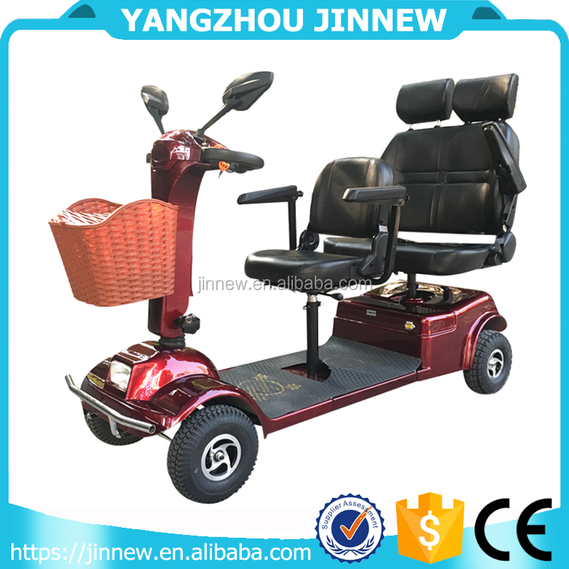 4 wheel electric mobility scooter for disabled people with 3 seats
