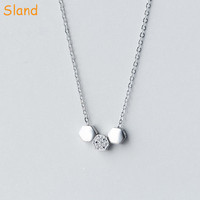 geometry sterling silver jewellry 3 pentagon pendants fashionable new design silver necklace(SSNA-175)