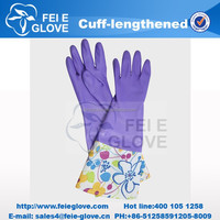popular colorful designed cheap oil resistant lady household dish washing latex gloves