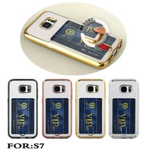 Electroplate Transparent Soft Silicone card holder wallet/smart Phone Case For Samsung Galaxy S7 Cover