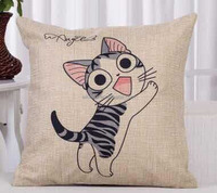 Newest fashion picasso plain natural linen cushion cat prints fancy pillow covers