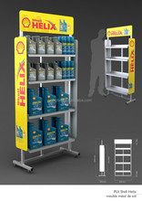 Metal floor engine oil display stand.vacuum form oil bottle shape display rack