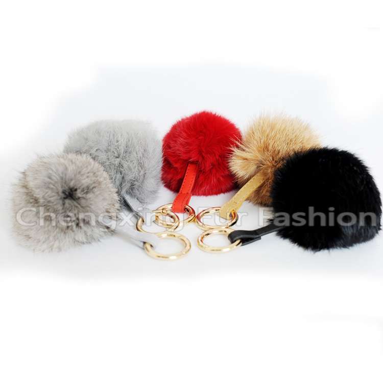CX-R-36 Genuine Rabbit Fur Ball Key Chain
