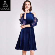 Royal lace sleeve cocktail dress blue sequin cocktail dress for party wedding prom