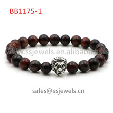 vintage jewellery women & men's health power precious stone beads natural red tiger eyes beads antique silver lion head bracelts