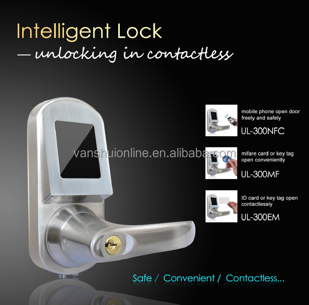 intelligent digital RFID lock, ID door lock, EM card lock for office and house (UL300EM