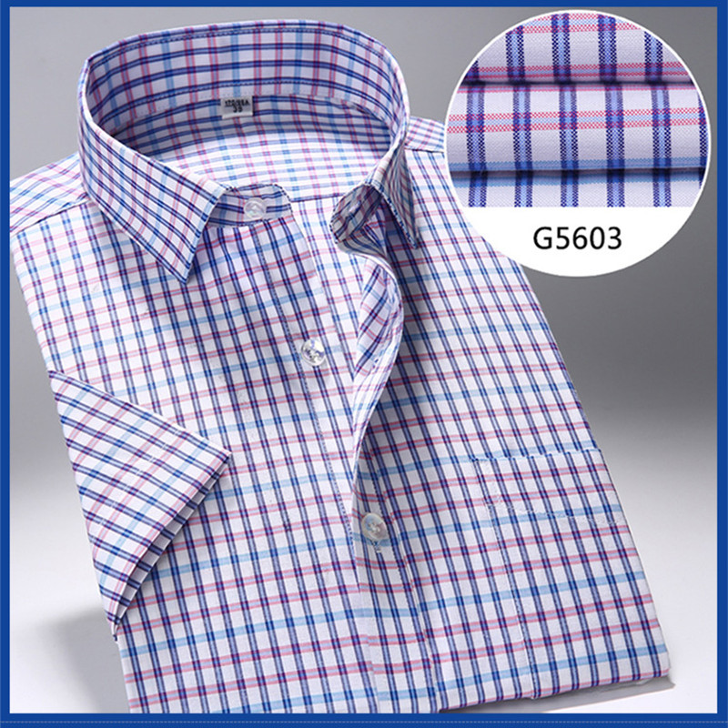 Cotton lattice short sleeve dress shirt leisure summer fitted shirt