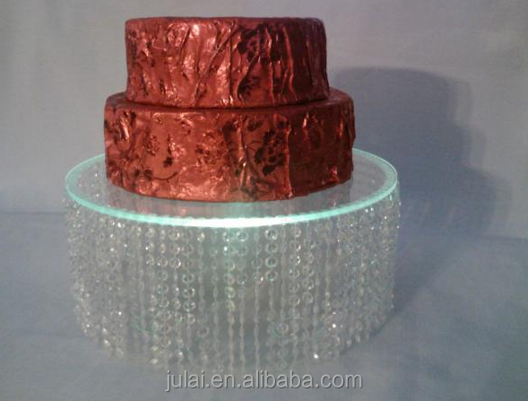 New hot sale round clear acrylic crystal wedding cake stands with crystal hanging in Guangzhou