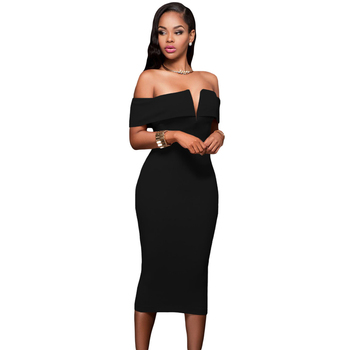 Sexy Women Black Off The Shoulder Bodycon Midi Dress
