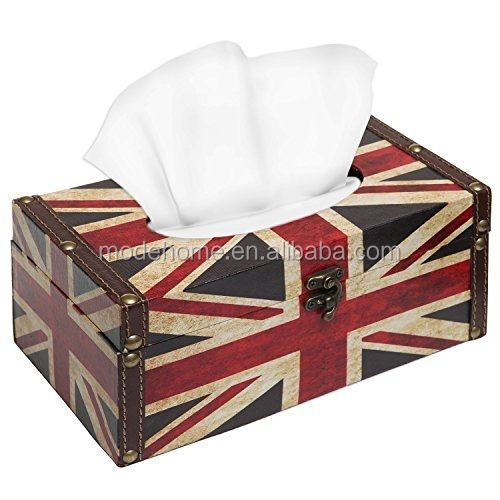 Union Jack Design Rustic Latch Wooden Rectangular Refillable Tissue Box / Paper Towel Holder