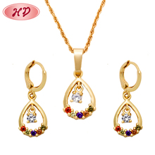 Wholesale Fashion Chinese Gold Color Diamond Jewelry Set