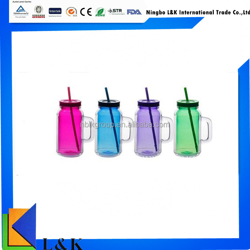 double wall plastic drinking cup with handle/plastic cup with lid/tube cup