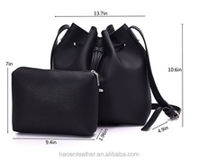 PU Leather Drawstring Bucket Bags 2 Pieces Set Women Small Cross-body Purses