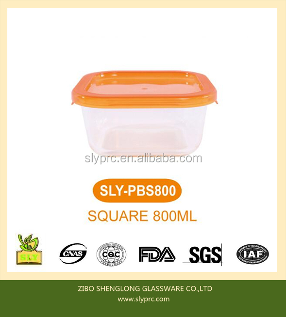 High Borosilicate Heat-resistant Glass Square Shape Food Container With PP Lid Microwave Use