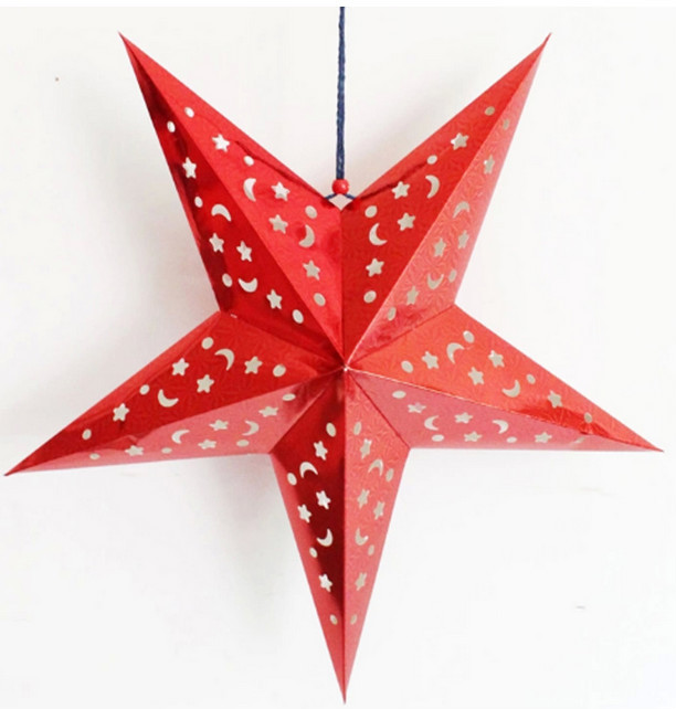 Xmas decoration 3d flashing hanging star paper lantern for 3d star decoration