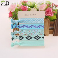 5 Pcs/set mix colors printed hair ties twist yoga Ribbon Elastic Bands/ Hair Accessories Ponytail Holders