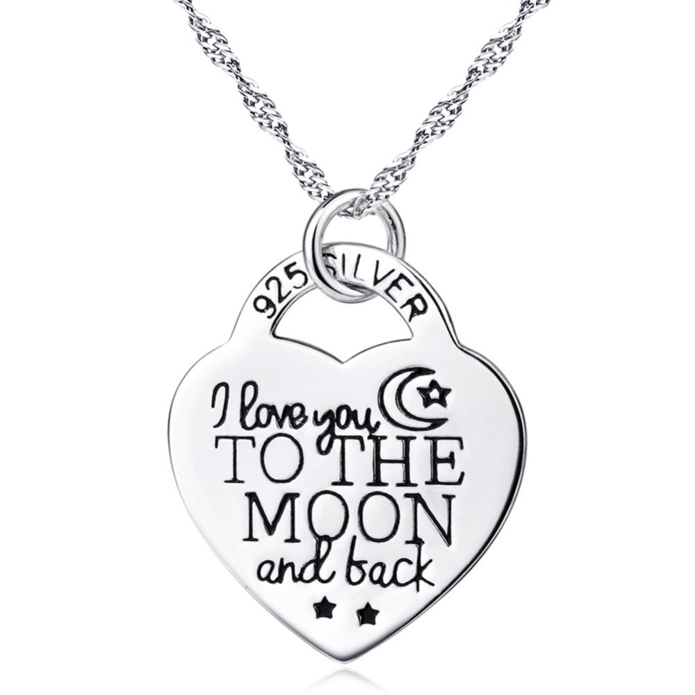 925 <strong>Silver</strong> I Love You to the Moon and Back Heart Pendant Choker Necklace 18