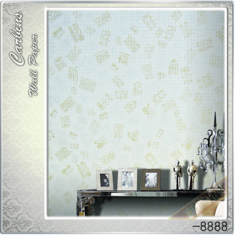 Carbins wallpaper 3D embossed chinese characters printing self adhesive paper