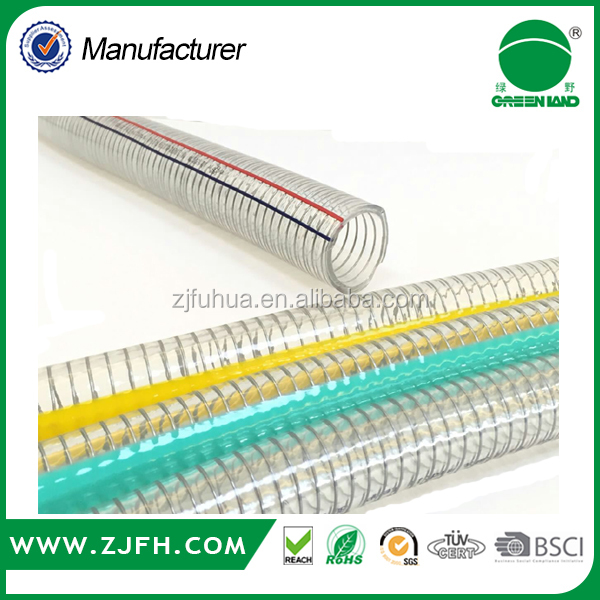 "[GREENLAND]Top Quality 2"" X 30M PVC transparent Steel Wire Spring Discharge hose"