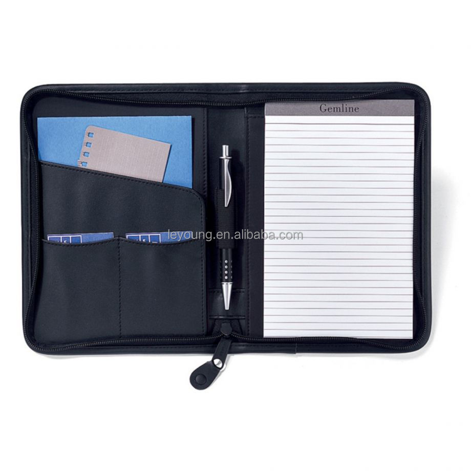 Black A5 Zipped Business Leather Padfolio