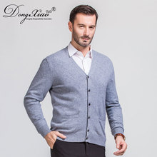 New Product Leisure Men Thin Section V Neck Stitching Knitting Cashmere Wool Sweater Cardigans