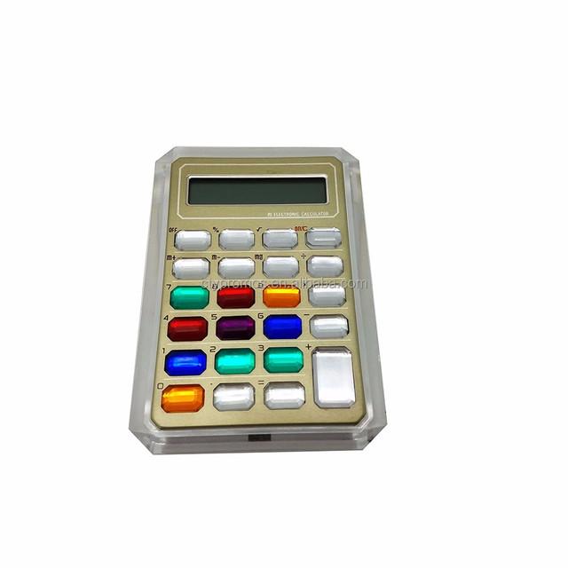 Colorful 8 Digit Diamond Crystal Calculator Pink Rhinestone Calculator For Female