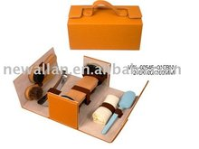 High quality shoe shine kits, pu leather shoe care set