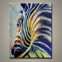 Modern Colorful Handmade Animal Canvas Painting, Abstract Oil Painting Zebra