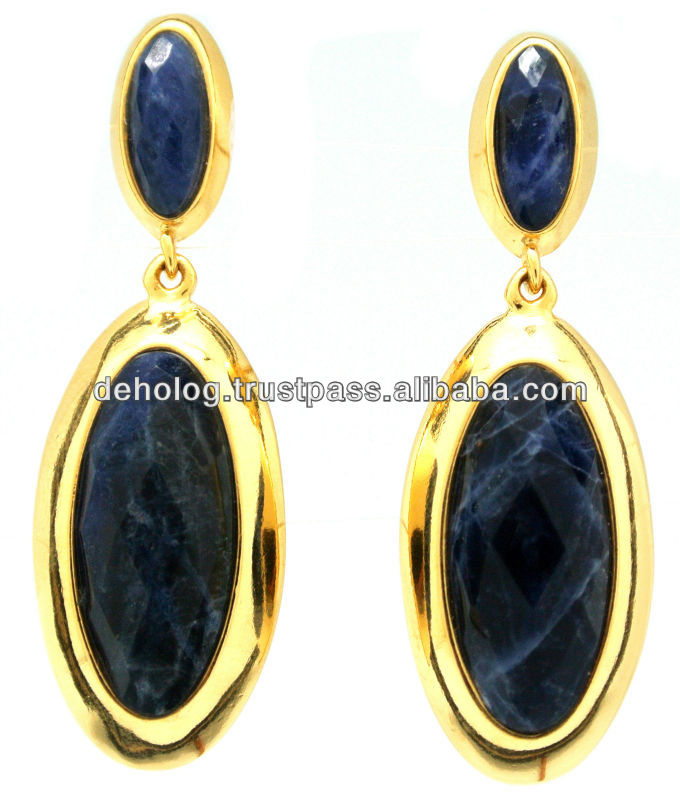 Earring with natural stone, GOLD PLATED