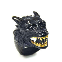 Wholesale Titanium Stainless Steel Black Wolf with gold tooth Biker Ring Club Jewelry