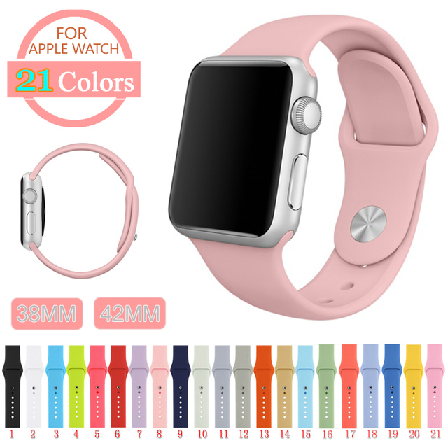 38 130 M/L Silicone Colorful Band With Connection Adapter For Apple Watch Series 1 Series 2 For iWatch Sports Buckle Bracelet