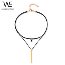 Fashion Women Jewelry Star Small Gold Bars Clavicle Chain Choker Necklace