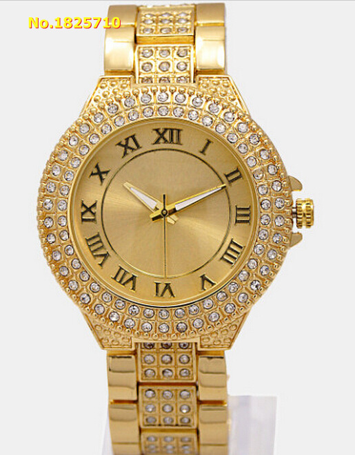Top Brand Luxury Fashion Dress Watch Women Watches Men Rose Gold Stainless Steel Rhinestone Geneva Quartz Watch Reloj Mujer K022