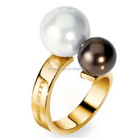 Steel time jewelry ring 18k yellow gold plated jewelry stainless steel pearl ring