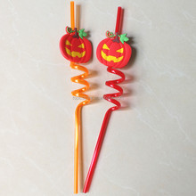 decorative Halloween pumpkin drinking straws