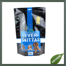 1kg size mylar plastic pet dog food bag with ziplock and window