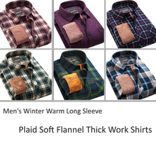 Men's Winter Warm Long Sleeve Plaid Soft Flannel Fur Lined Work Shirts