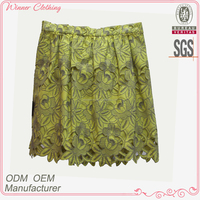 2016 Hot Sexy Back Open Yellow Hellow Embroidery Girls Sexy Short Skirt